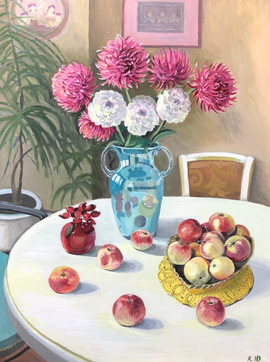 "Натюрморт ""Осенние яблоки""  70х50 холст масло. Картина продана"