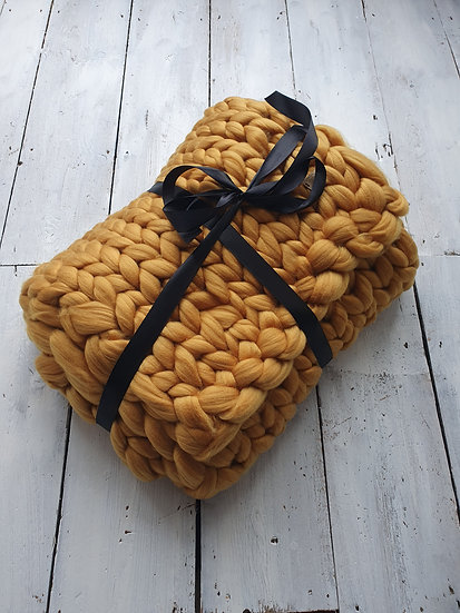Mustard chunky knit throw/blanket