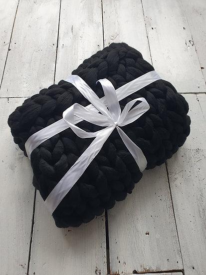 Black chunky knit throw/blanket