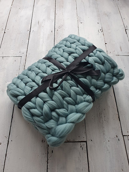 Teal chunky knit throw/blanket