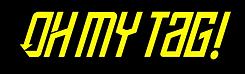 Logotipo Oh my tag! negro y amarillo