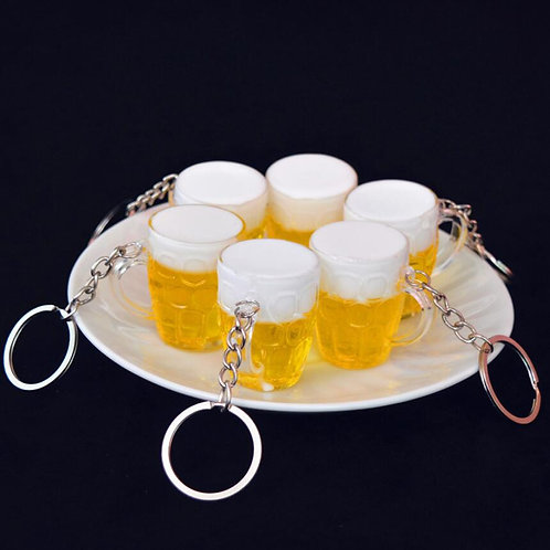 2x Unisex Fashion Resin Beer Cups 4*3cm Simulation Food Handicraft Key Chain