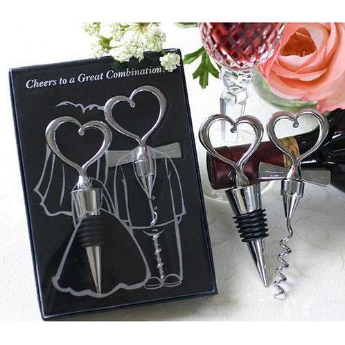 Love Heart Corkscrew Bottle Opener Set Stainless Steel Wine Bottle Stopper