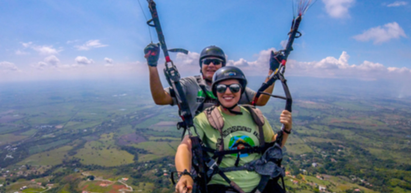 tandem paragliding over the Cauca valley