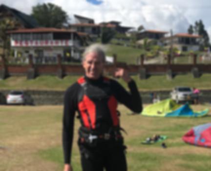 kitesurfer dude in lake Calima