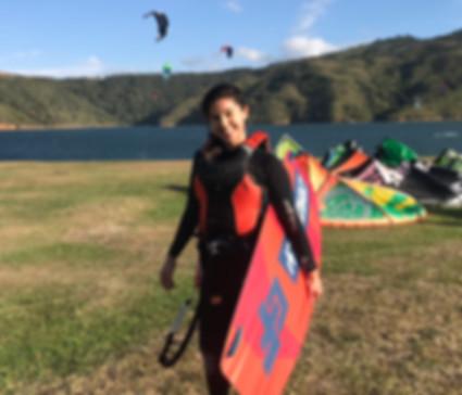 pretty kitesurfer girl lake Calima