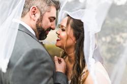 smiling couple under veil