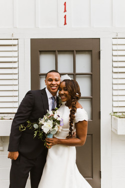 Huge smiles from a wedding couple!