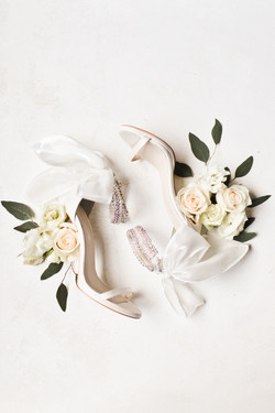 wedding shoes and florals