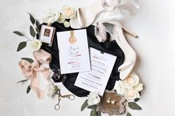 black and white wedding flatlay