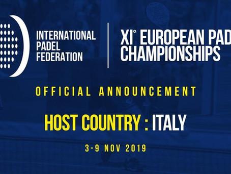 Campionati Europei di Padel: in Italia dal 3 al 9 novembre 2019 l'XI Edizione