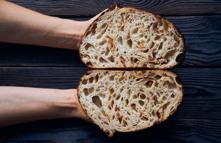 Freshly baked homemade tartine bread in