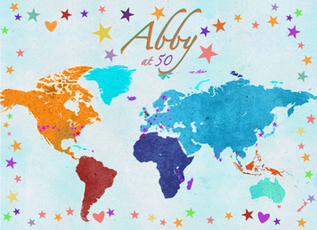 A map of Abby's worl on her 50th birthday