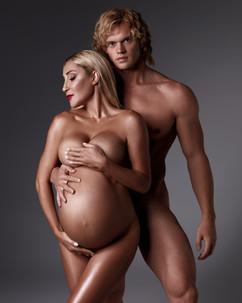 Pregnancy photo shoot in the studio. Models - Viktoria, Sergey