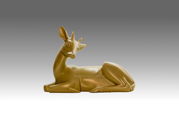 Armand Petersen - Petite antilope couchée avec cornes tête penchée - Bing & Grondahl