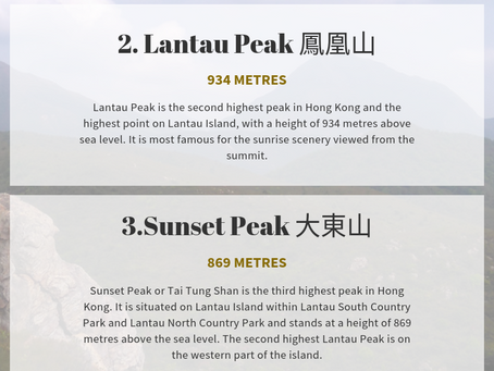 Top 10 highest mountains in Hong Kong