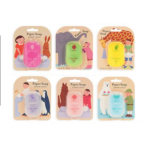 Japan paper soap 日本便攜 香皂紙 戶外洗手 50片 露營 行山 旅行 方便 6種香味