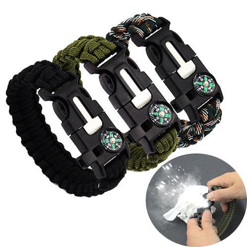 Paracord Bracelet set of 2 Survival Kit Cord Buckle W/Compass Flint Fire whistle