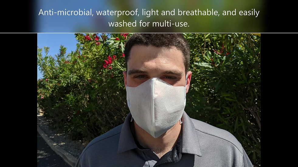 Comfortable Anti-Microbial Mask with Ties or Elastic