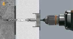 Четвертый этап монтажа – заглубление дюбеля в теплоизоляцию при помощи специальной фрезы с ограничителем