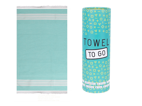 Oasis Towel to Go Hammam Towel in Turquoise with Recycled Gift Box