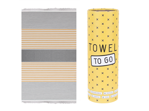 Towel to Go Bali Hammam Towel Grey/Mustard, with Gift Box