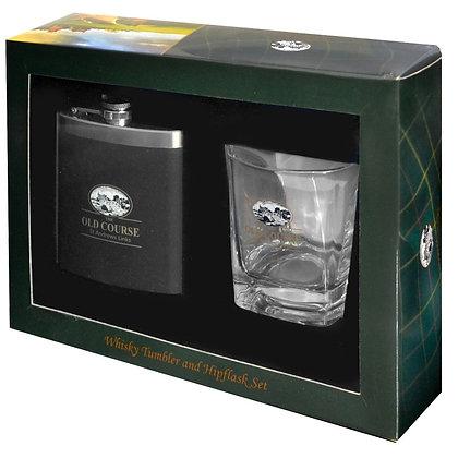 St Andrews Whisky Tumbler + Hipflask Set