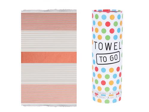Towel to Go Bali Hammam Towel Orange/Beige, with Gift Box