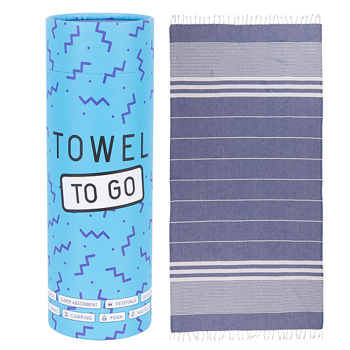 Towel to go Malibu Hammam Towel in Blue with Recycled Gift Box