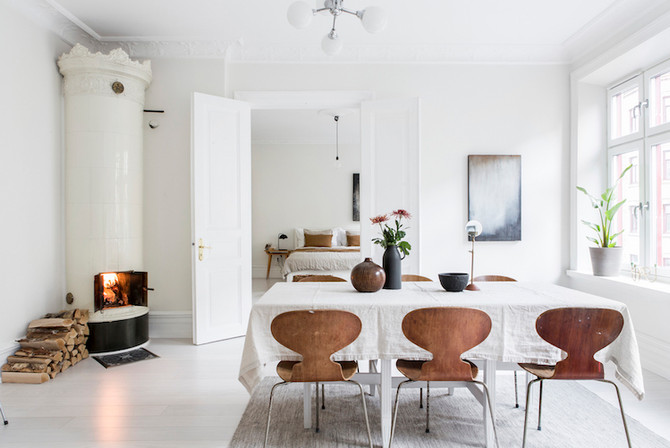 Mixing white and/or gray with warm neutral tones
