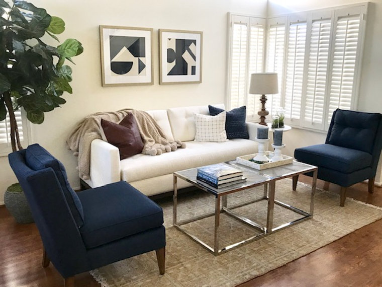 Living Room in my Coastal Transitional Project. Shelley Sass Designs  www.shelleysassdesigns.com 858-255-9050 shelley@shelleysassdesigns.com #interiordesign  #remodeling #homestaging #interiorinspiration