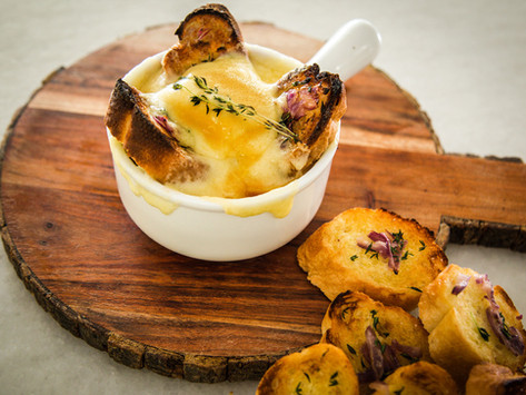 Joe's French Onion Soup with Caramelized Toasted Baguette and Gruyère  (with paired playlist).