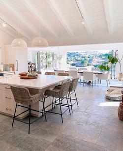 view through kitchen to yard