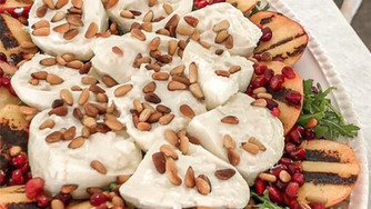 Grilled Peaches with Burrata, Pomegranate, Pine Nuts & Crispy Prosciutto - (Two ways to serve)