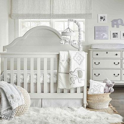 Wendy Bellissimo Hudson Elephant Crib Sheet in White/Grey