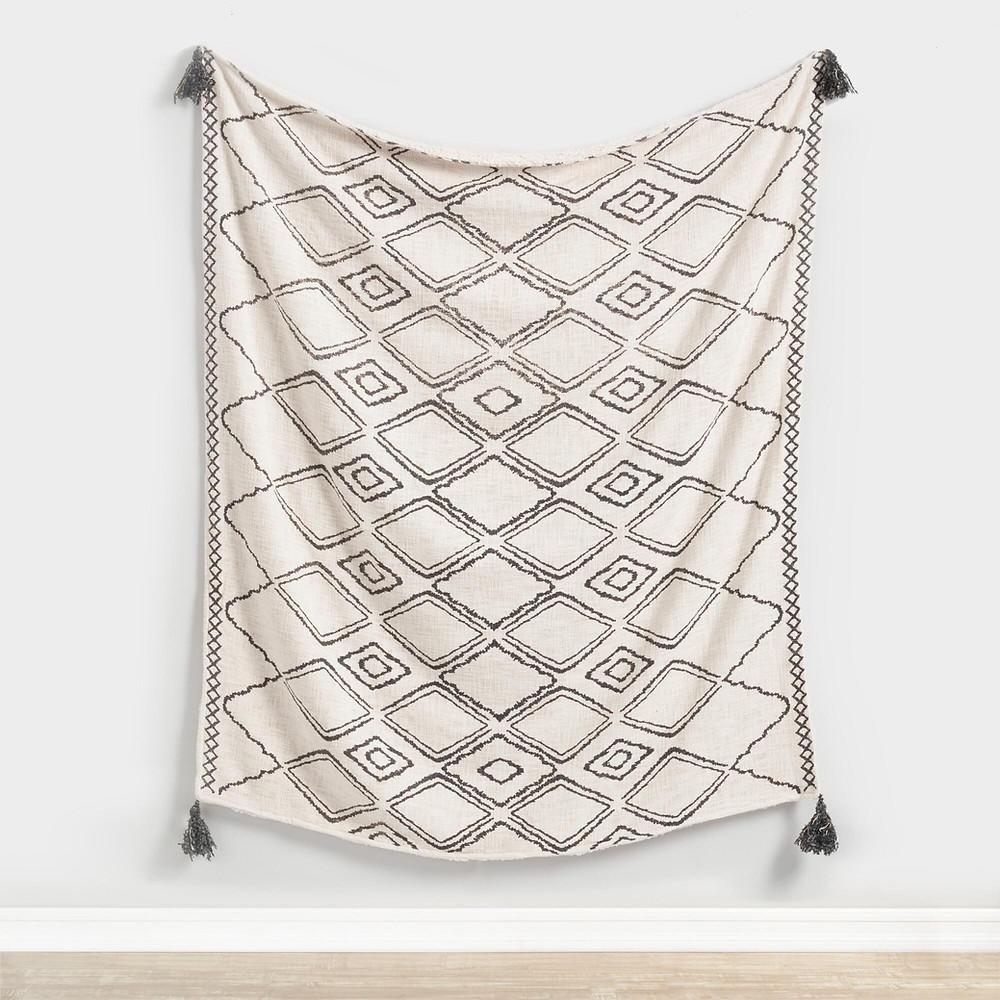 Geometric Print Sherpa Throw Blanket