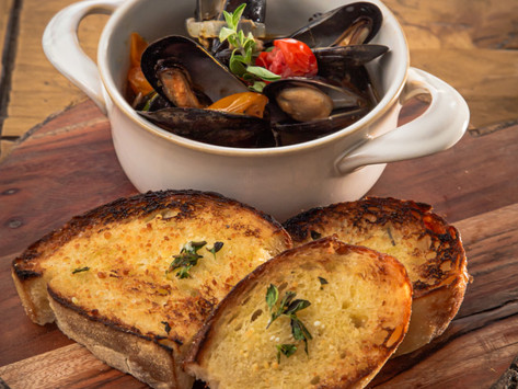 Joe's Sautéed Mussels with Garlic & Herb Crostini  (with paired playlist)