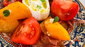 Heirloom Tomato, Burrata and Prosciutto with Crostini