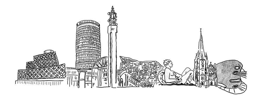 Birmingham, Skyline, illustration, West Midlands
