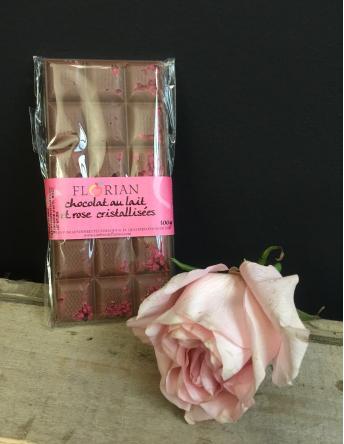 Chocolat au lait et roses cristallisées Florian