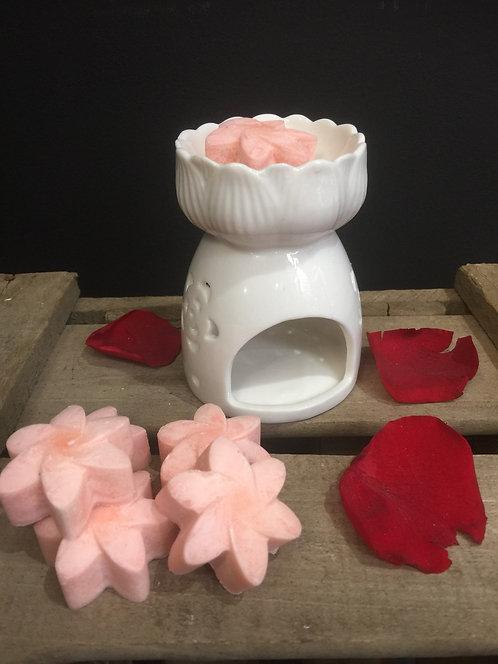 Brûloir à fleurs en cire de soja. Parfum Rose-Tubéreuse