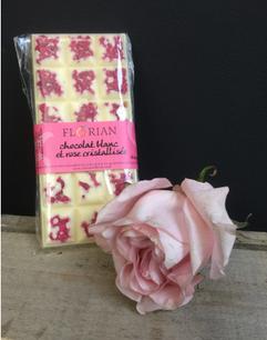 Chocolat Blanc et roses cristallisées Fl