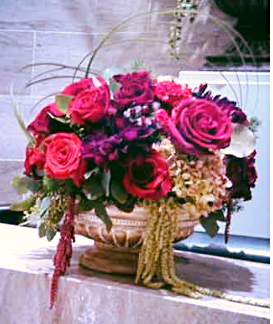 Large flower display in pots