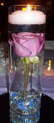 FW1-Flower submerged in water with candle