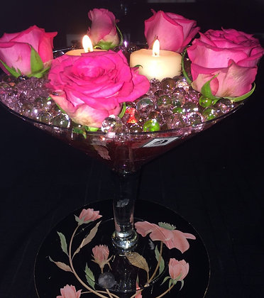 Roses with candles and marbles