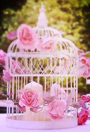 Bird cage centrepiece with candles