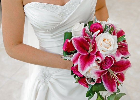 W16 Roses and Alstroemeria bridal bouquet