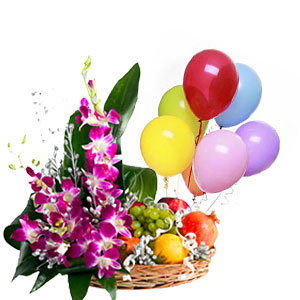 Flowers with balloons and fruit