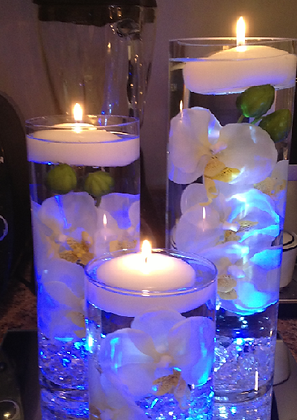 Candle centrepiece with lights