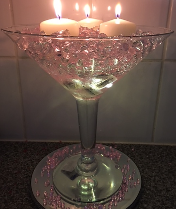 SMCC-Martini glass display with candles & crystals